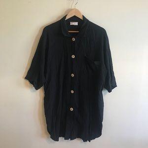 Black crinkle gauze minimalist tunic top